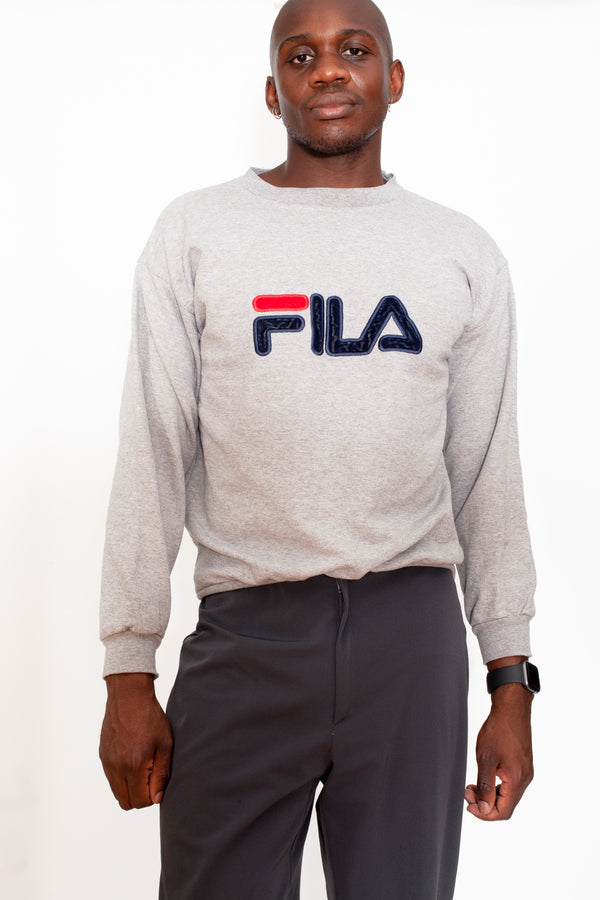 Vintage 90s Fila Big Logo Grey Sweatshirt