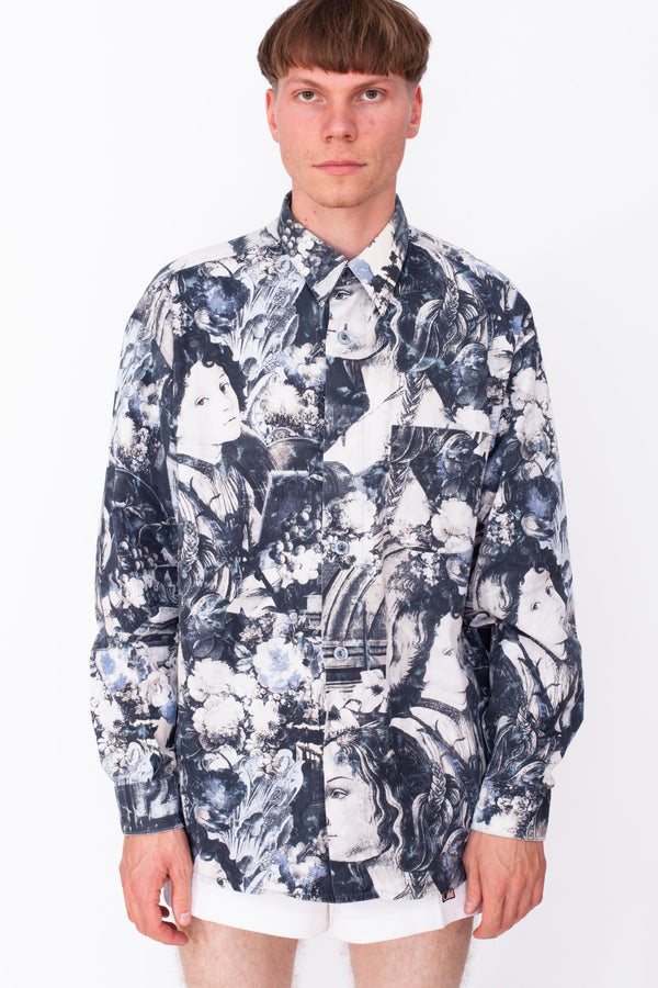 Vintage 90s Renaissance Print Shirt - The Black Market