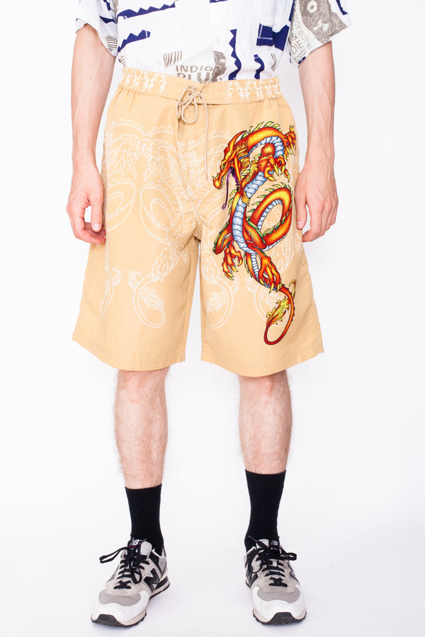 Vintage 90s Dragon Print Swim Shorts - The Black Market