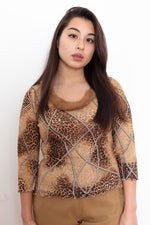 Y2K Leopard Print Faux Fur Collared Top