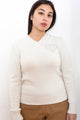 Guess White V-Neck Sweater