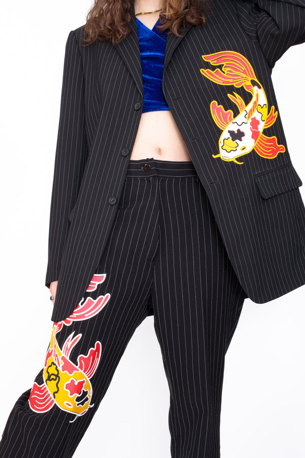 Reworked Koi Fish Pinstriped Suit by ESTERE