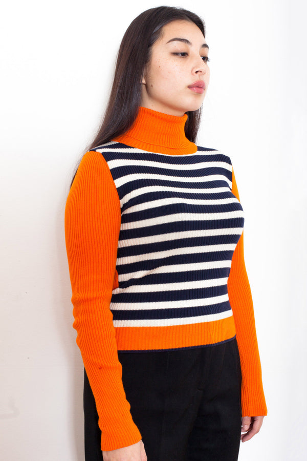 Vintage 90s Orange/ Blue Striped Turtleneck