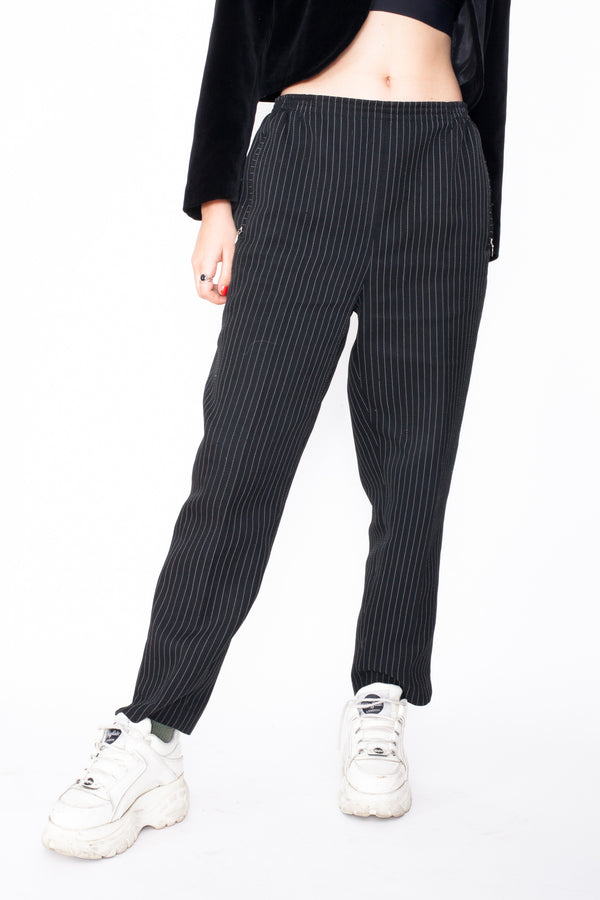 Vintage 90s Pinstripe Work Trousers - The Black Market