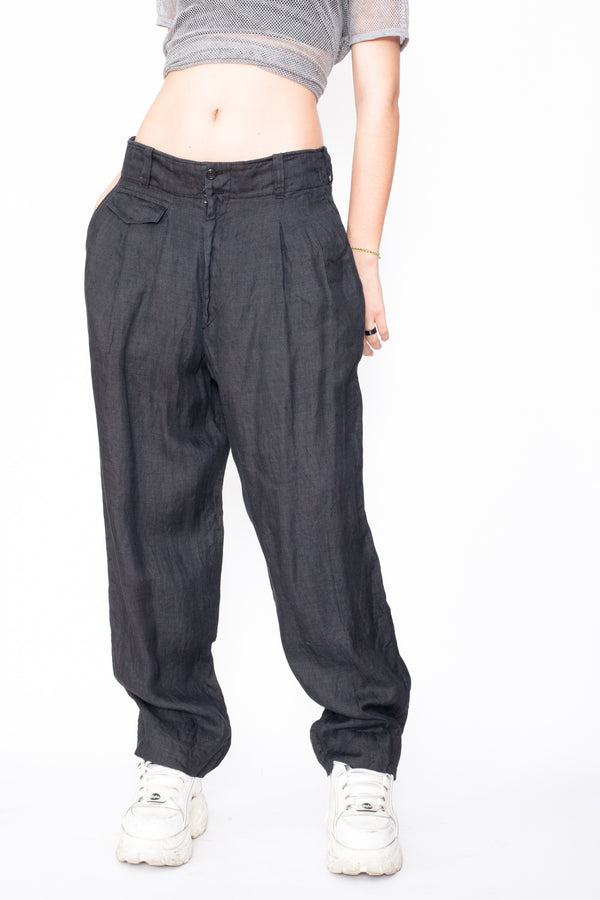 Vintage 90s Gianfranco Ferre Linen Trousers - The Black Market
