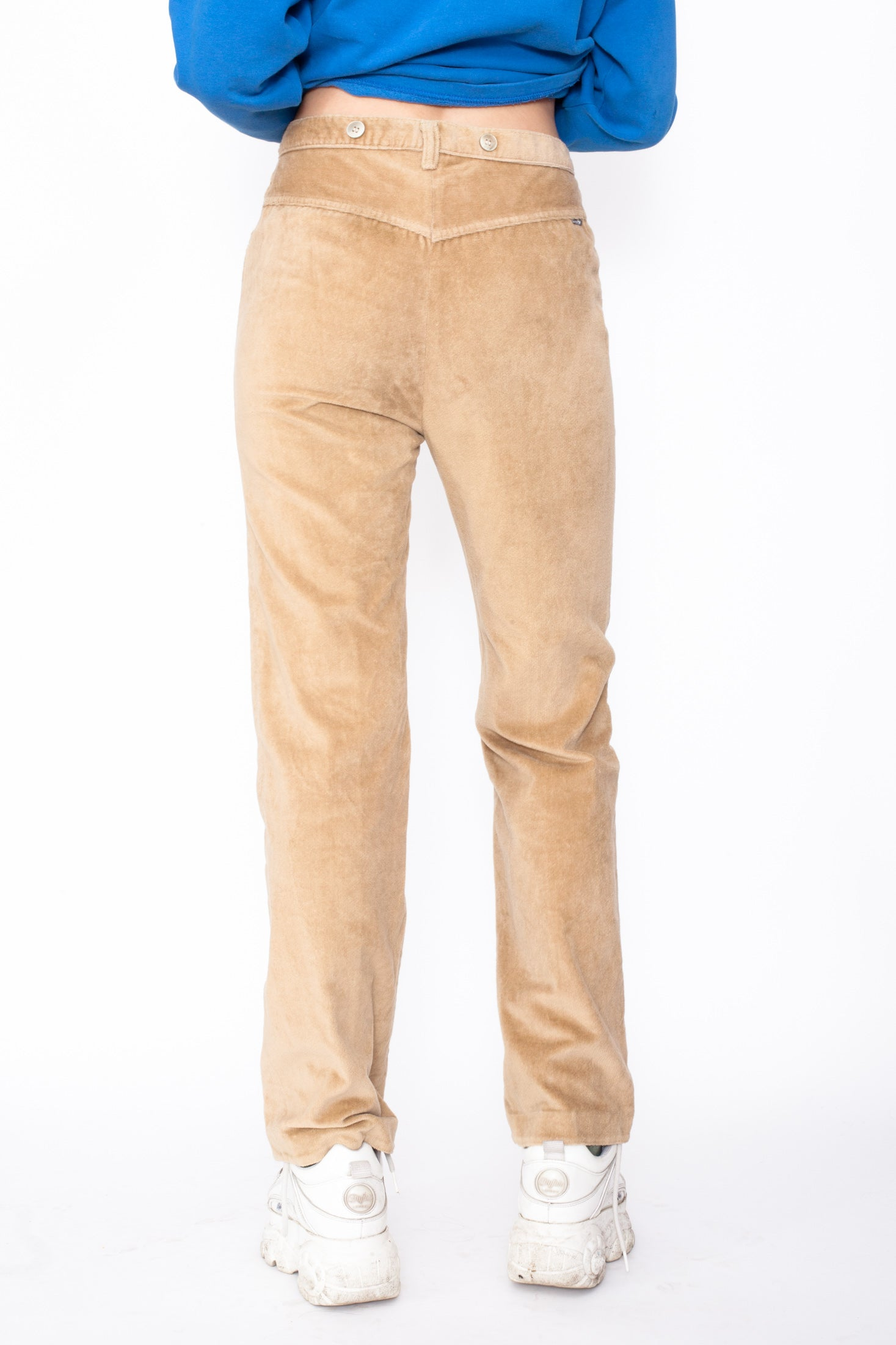 Vintage beige high waisted trousers real pockets front and one at the back