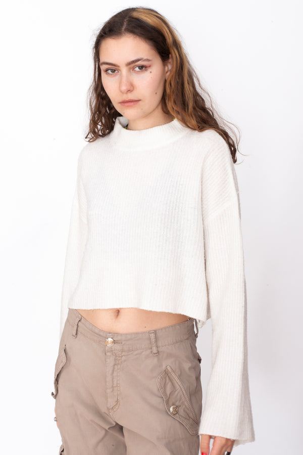 Vintage 90s Cream Striped Crop Jumper - The Black Market