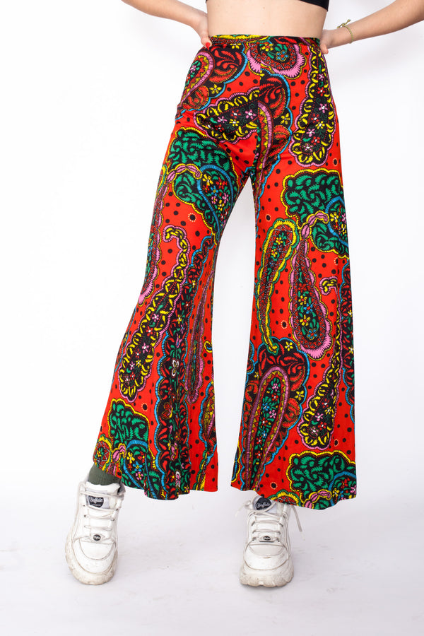 Vintage 70s Organic Pattern Flared Trousers - The Black Market