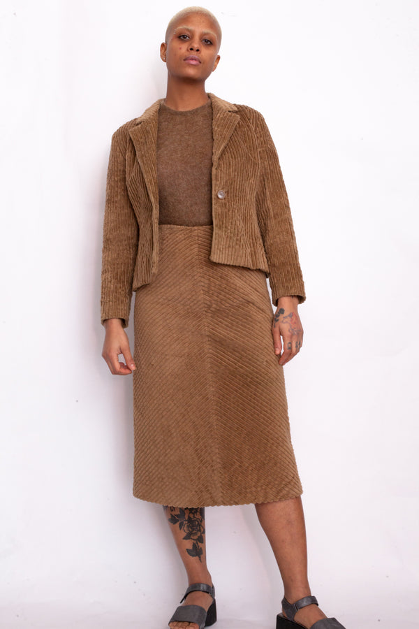 Max&Co. Brown Corduroy Jacket & Skirt Suit