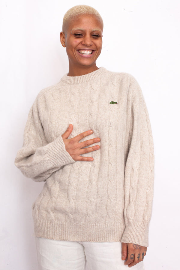 Lacoste Cream Wool Jumper