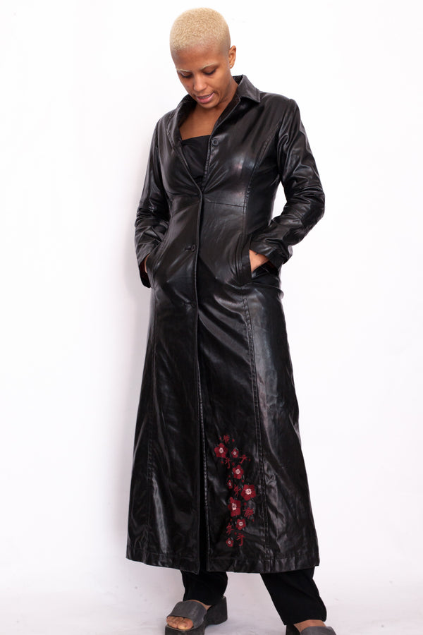 Y2K Black Chinese Floral Embroidery Leather Coat