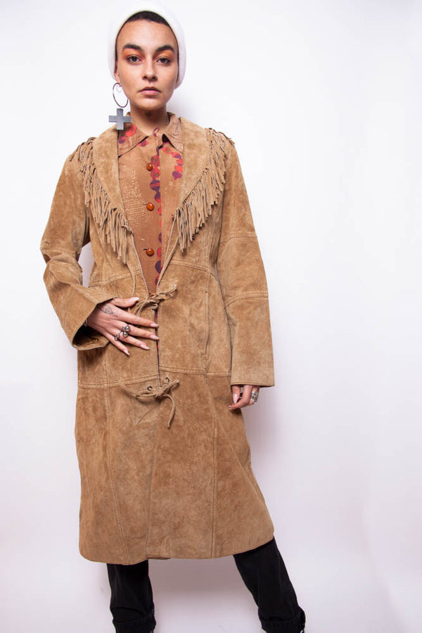 Vintage 70s Suede Leather Tassles Trench Coat - The Black Market