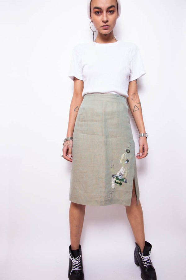 Vintage 90s Kenzo Embroidered Linen Skirt