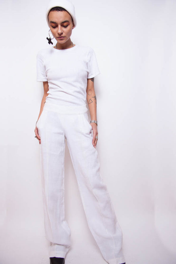 Vintage 90s Max & Co. White Linen Trousers