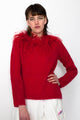 Vintage 90s Red Wool Feather Collar Pullover