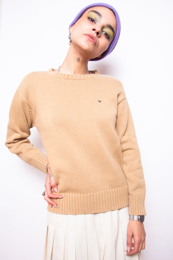 Vintage 90s Tommy Hilfiger Beige Jumper - The Black Market