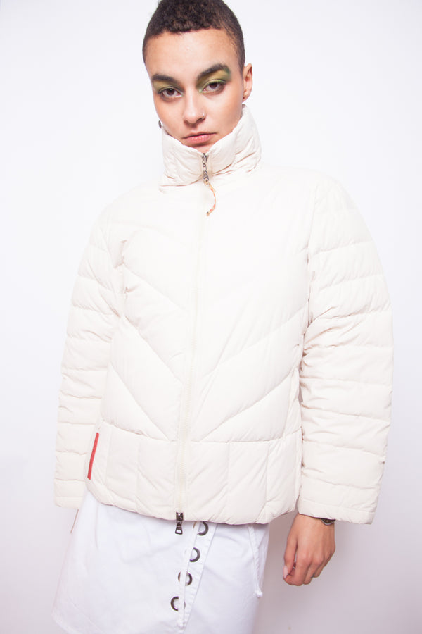 Vintage 90s Prada Off White Puffer Jacket - The Black Market