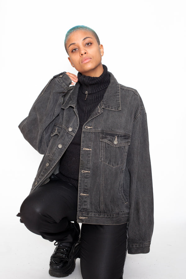 Vintage 90s Black Denim Jacket - The Black Market