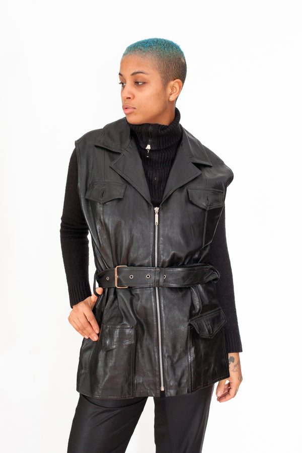 Vintage 90s Sleeveless Leather Dress - The Black Market