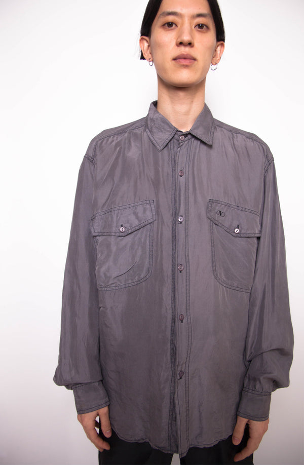 Vintage 90s Valentino Grey Shirt - The Black Market