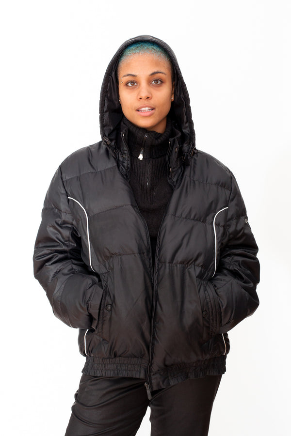 Vintage 90s Champion Hoodie Puffer Jacket - The Black Market