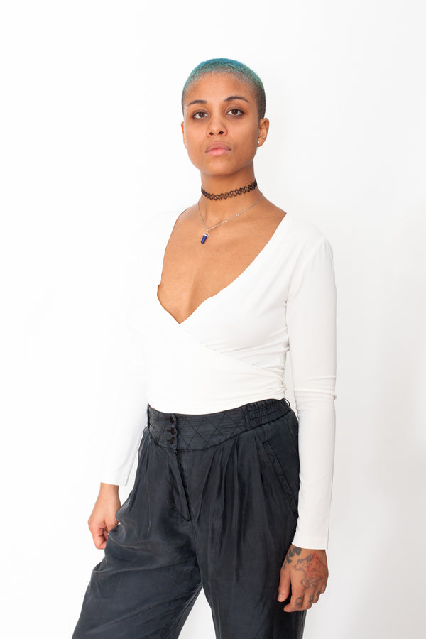 Vintage 90s Luisa Spagnoli Tie Up Top - The Black Market