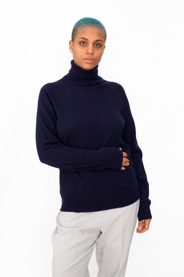 Vintage 90s Lambswool Navy Turtleneck Jumper - The Black Market