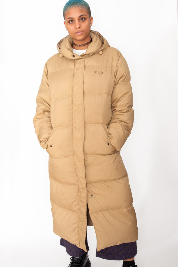 Vintage 90s Fila Beige Puffer Coat - The Black Market