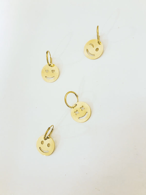 SMILEY Brass Single Earring by Pulva - The Black Market