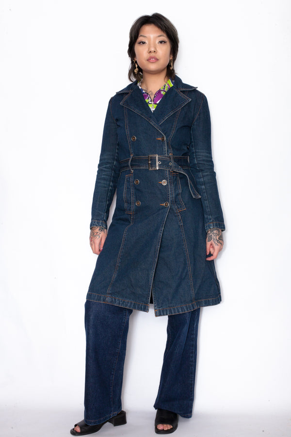 Vintage 90s Indigo Blue Denim Coat