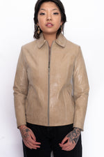 Y2K Beige Snakeskin Leather Jacket