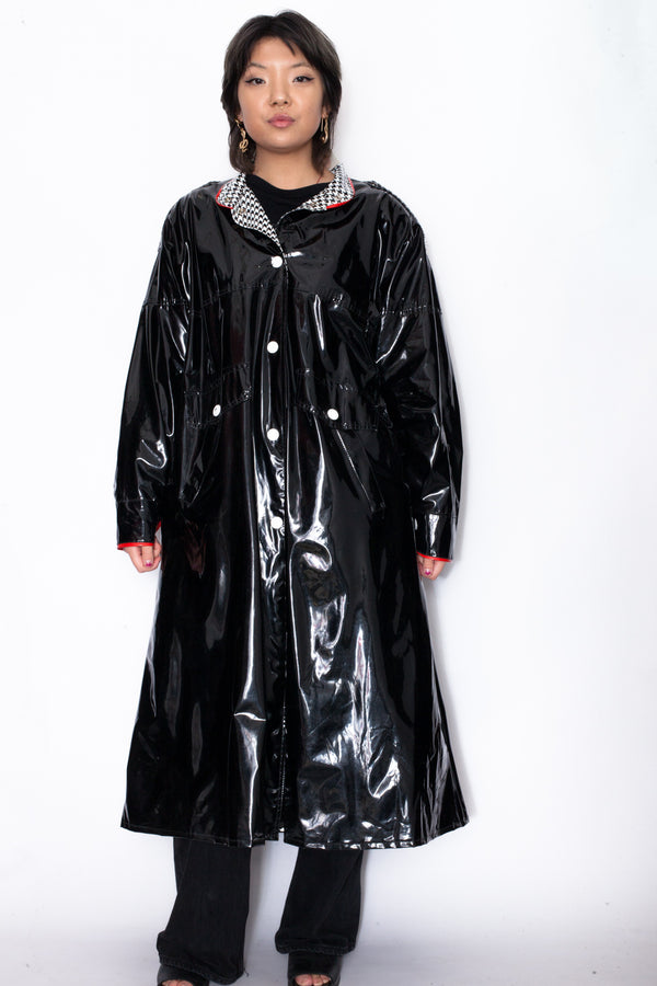 Vintage 90s PVC Leather Trench Coat