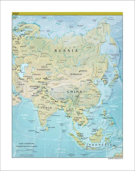 Map Of Asia To Print.Map Collection Asia Map Physical Art Print Wall Reminders