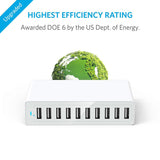 10 Port 5V 40W 8A USB charger universal mobile phone tablet white fast charge