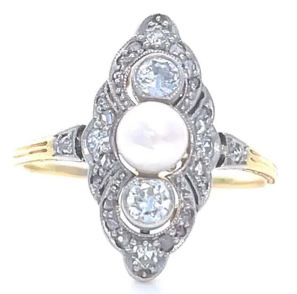 Antique Edwardian Pearl Diamond Navette Ring