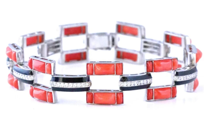 Art Deco Inspired Coral and Onyx Diamond Bracelet