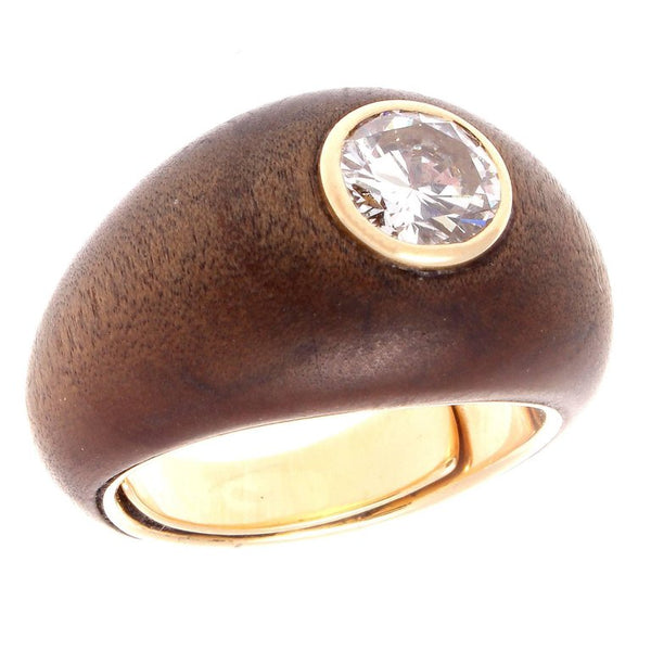 Authentic Rene Boivin 1 Carat Diamond Wood  18K Gold Ring