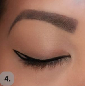 Draw a second line from the tip of the wing (first line) diagonally down towards the lash line creating a triangle.