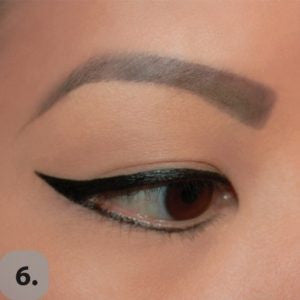 Connect the lower lash eyeliner with the wing and clean up any imperfections. Voila! Cat eye is complete!