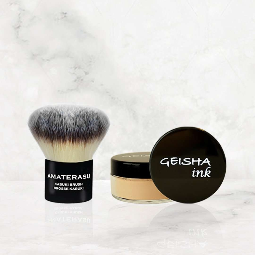 soft  Kabuki Brush and  Geisha Ink Loose Mineral Foundation Amaterasu