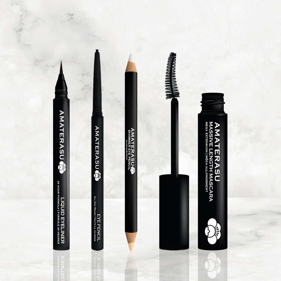 the perfect makeup set - THE MUST HAVES SET = LIQUID EYELINER + EYE PENCIL + SHIMMER EYE PENCIL MASSIVE LENGTH MASCARA