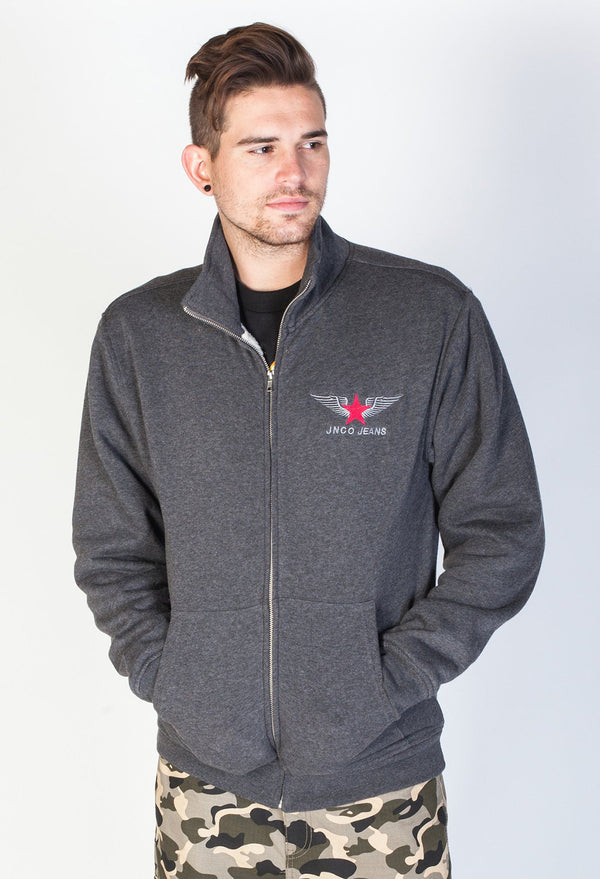 JNCO Official Zip Up Fleece Jacket- Charcoal
