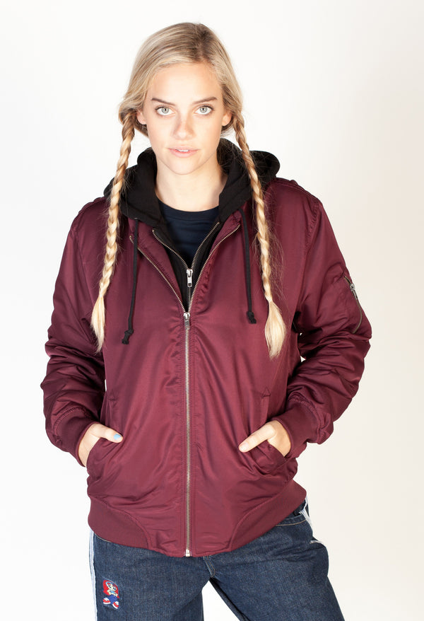 Hooded Bomber Jacket- Burgundy