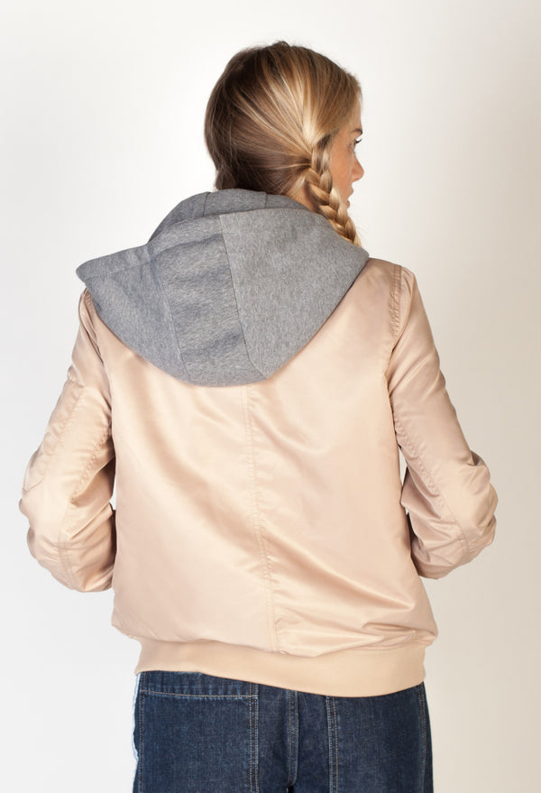 Hooded Bomber Jacket- Taupe