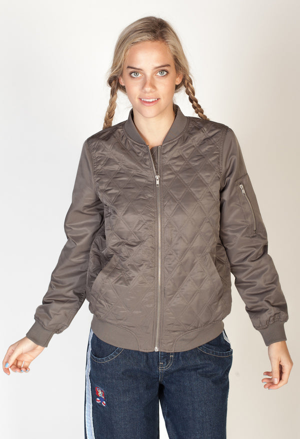 Satin Quilted Bomber Jacket- Gray