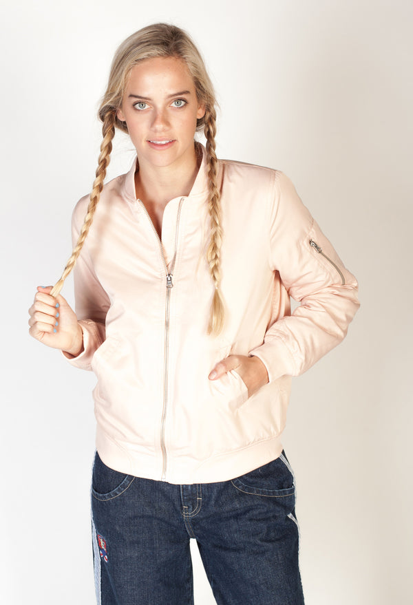 Ruched Bomber Jacket- Pink