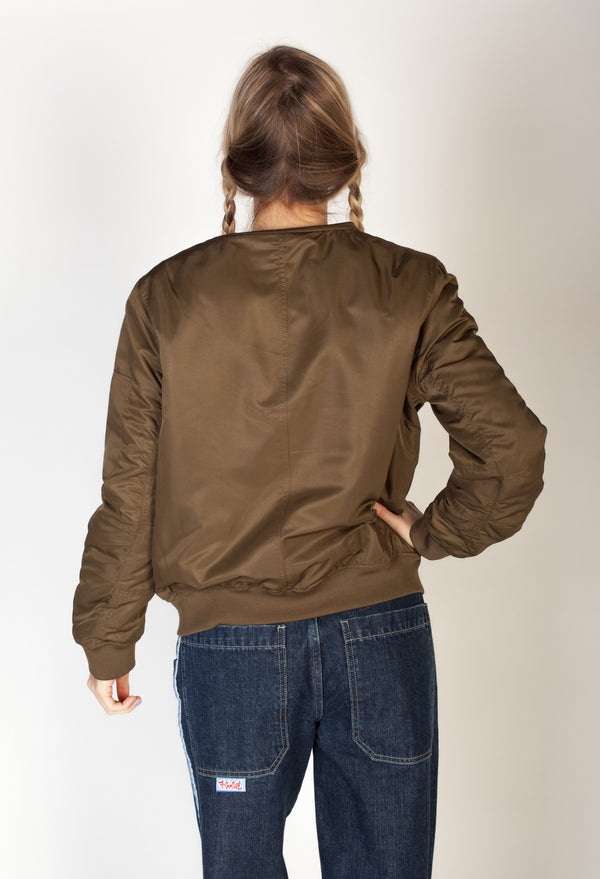 Ruched Bomber Jacket- Olive