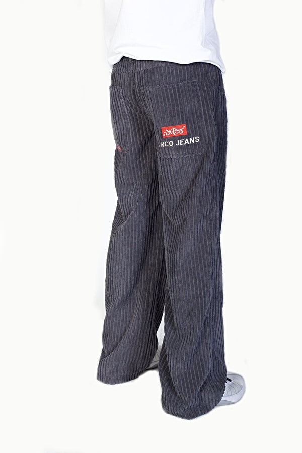 JNCO Corduroy Pipes Dark Gray-Leg Opening 23""