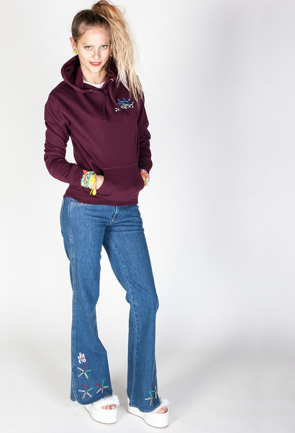 WOMEN'S HOODIES - Emblem Crown Pullover Hoodie Blackberry