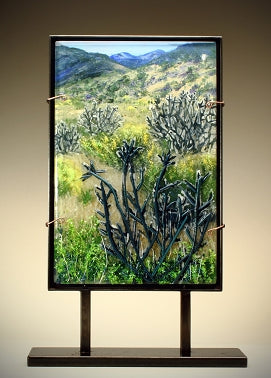 Beauty of Desert Cactus Dimensional Glass Sculpture